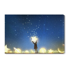 beautiful scenery showing the young boy standing among glowing planets and holding the star up in the night sky, digital art style, illustration painting