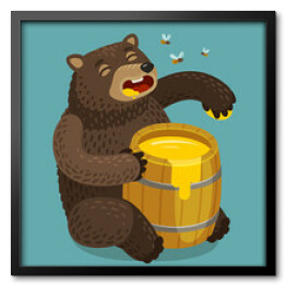 Happy bear eats out of keg of sweet honey. Cartoon vector illustration