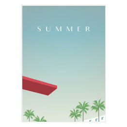 Summer retro vintage poster vector template with jumping board over swimming pool and palm trees in tourist, vacation resort. Promotion of summer holiday, recreation.