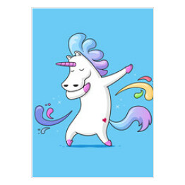 Dabbing Unicorn - Cute funny unicorn dancing dab vector cartoon illustration