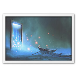 fantasy scenery of the abandoned boat on the shore near the mystery door, digital art style, illustration painting
