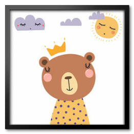 Hand drawn vector illustration of a cute funny bear in a shirt and crown, with sun and clouds. Isolated objects. Scandinavian style flat design. Concept for children print.