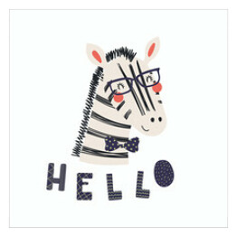 Hand drawn vector illustration of a cute funny zebra in a bow tie and glasses, with lettering quote Hello. Isolated objects. Scandinavian style flat design. Concept for children print.
