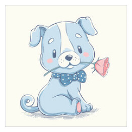 Cute puppy with a flower cartoon hand drawn vector illustration. Can be used for t-shirt print, kids wear fashion design, baby shower celebration greeting and invitation card.