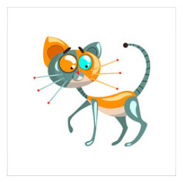 Cute robotic cat, artificial intelligence concept vector Illustrations on a white background