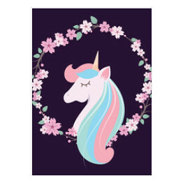 Colorful lovely unicorn with floral wreath and dark bacground
