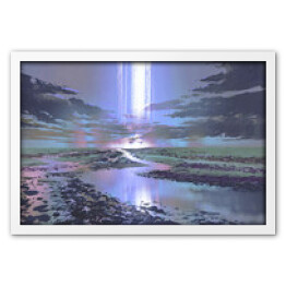 night scenery of water road against black clouds and waterfall in the sky, digital art style, illustration painting