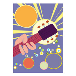 Music festival poster, with hand and guitar. Retro vector background, copy space