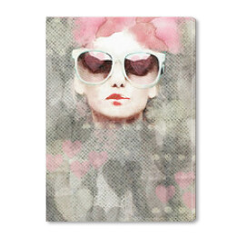 Dream. Watercolor abstract portrait of girl. Fashion background.