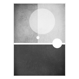 abstract modern black and white background with minimalism design of circle shapes blocks and straight line angles in layers with old vintage texture and grunge