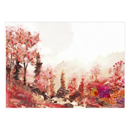 Watercolor autumn landscape.
