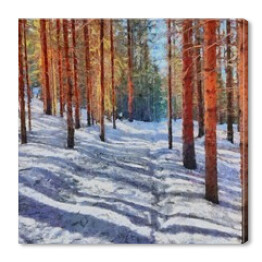 Hand drawing watercolor art on canvas. Artistic big print. Original modern painting. Acrylic dry brush background. Beautiful winter forest landscape. Wonderful travel view. Charming snow resort.