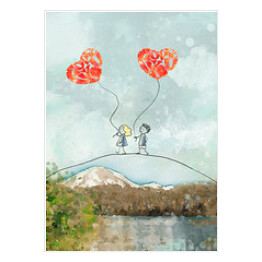 I love you. Watercolor valentine card