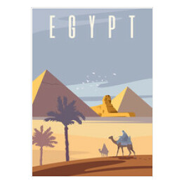 Vector art deco retro poster. The Egyptian pyramids.