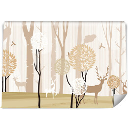3d mural wallpaper trees in winter snow with branches and flowers . deer birds with flat modern simple background