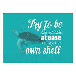 Morska typografia - try to be like a turtle at ease in your own shell