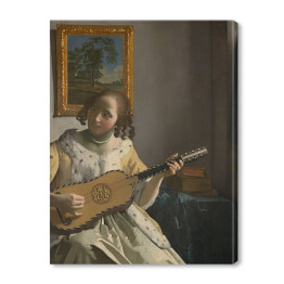 Jan Vermeer - Young woman playing a guitar, reprodukcja