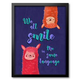 "Lamy z napisem ""We all smile in the same language"""