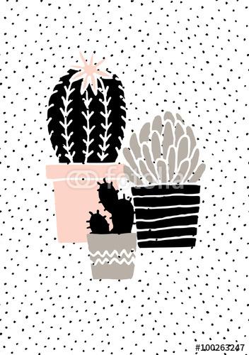 Ręcznie rysowane plakat kaktusa