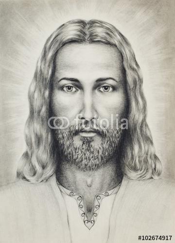 ołówki rysunek Jezusa na wzór papieru, z ornamentem na odzieży. kontakt wzrokowy.