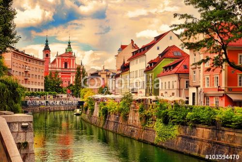 Piękny widok na nasyp w Lublanie