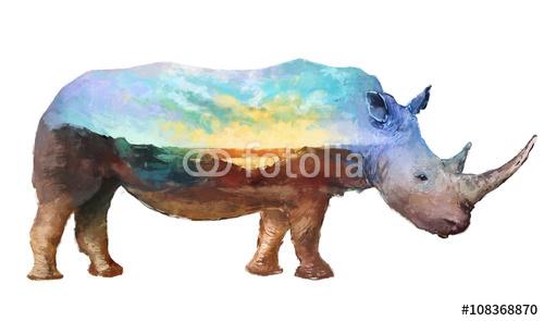 Nosorożec podwójnej ekspozycji ilustracja