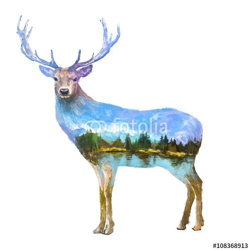 Jeleń w podwójnej ekspozycji z krajobrazem