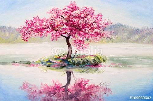 Drzewo Wiśni Na Małej Wyspie Na środku Jeziora