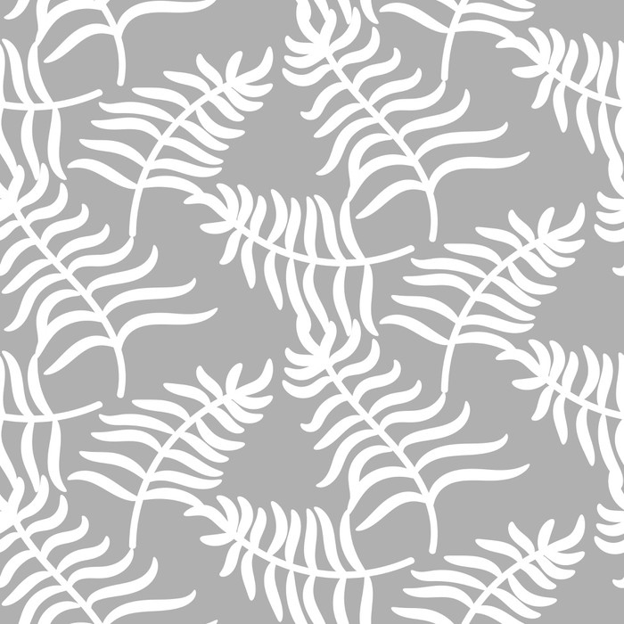Tropikalna dżungla palma opuszcza pastelowego koloru wzoru tło na szarość. Egzotyczny wzór natury dla tkanin, tapet lub odzieży.