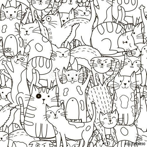 Doodle koty wzór. Czarno-biały ładny koty tło