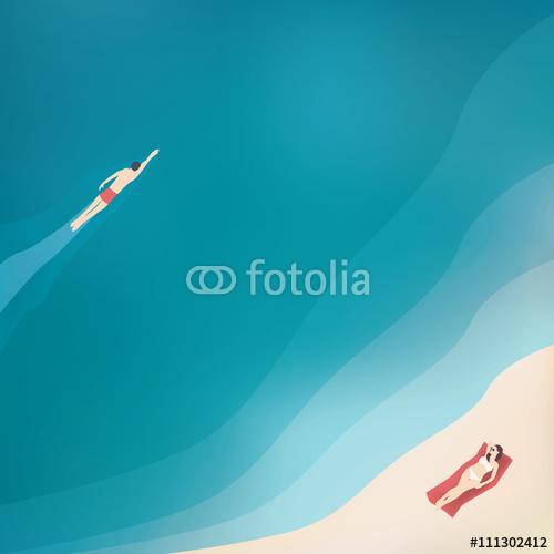 Widok na ocean i pływaka