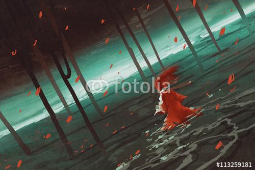 kobieta w czerwonym chodzenia po bagnie jezioro, rzeka, drzewa, dekoracje, foka