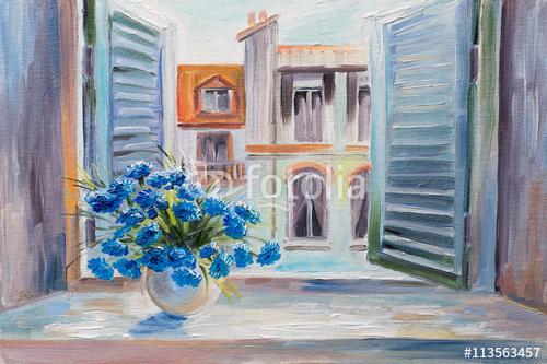 obraz olejny. kwiaty na balkonie, piękne dachy latem, kolorowa akwarela