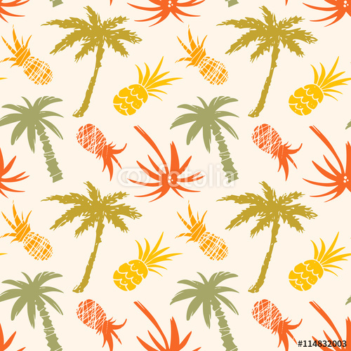 Wzór z palmami, ananasy