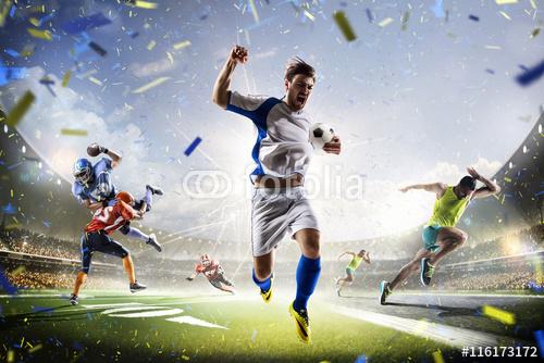 Multi sportowych kolaż piłka nożna futbol amerykański i działa