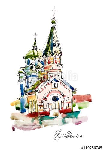 odręczny szkic akwarela malarstwa Kościoła w Podolu Kijów Ukra