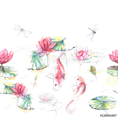 Ręcznie rysowane akwarela bezszwowe wzór w stylu japońskim. Powtarzające się tło z karp Koi ryby w wodzie z kwiatów lotosu i liści. Wzór dla tekstyliów i tapet