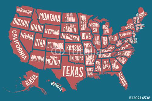Mapa Stanow Zjednoczonych Z Nazwami Stanow Plakat Premium