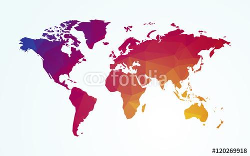 Mapa świata kolor geometryczny kształt tekstury