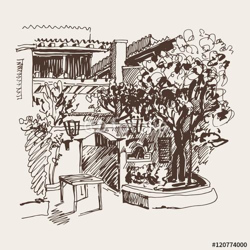 szkic rysunek Slovenska Plaza hotel ulica w Budva, Montene