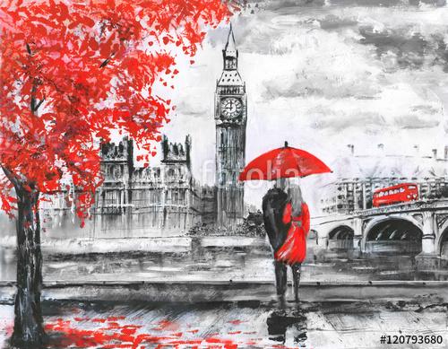 Para pod czerwonym parasolem w Londynie