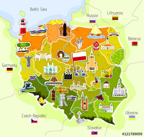 Niesamowite Mapa Polski - Fototapety flizelinowe - Decor Mint MT06