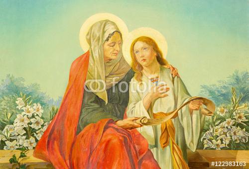 RZYM WŁOCHY, MARZEC, - 10, 2016 Obraz st. Ann z Najświętszą Maryi Panną w kościele Basilica di Santa Maria Ausiliatrice przez księdza salezjańskiego i Dona Giuseppe Melle (20 centów)