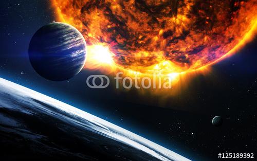 Abstrakcjonistyczny naukowy tło - planety w przestrzeni, mgławicy i gwiazdach. Elementy tego obrazu dostarczone przez NASA nasa.gov