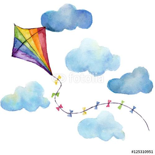 Ręcznie rysowany latawiec wśród chmur