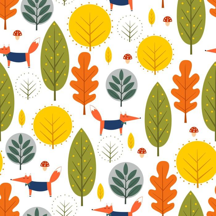 Jesieni drzewa i lis bezszwowy wzór na białym tle. Ilustracja wektorowa ozdobny las. Śliczny dzikich zwierząt natury tło. Skandynawski wzór na tekstylia, tapety, tkaniny, dekoracje.