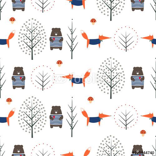 Lis, niedźwiedź, jesienne drzewa i grzyb wzór na białym tle. Śliczna scandinavian stylu natury ilustracja. Jesień las z zwierząt projekt dla wyrobów włókienniczych, tapety, tkaniny.
