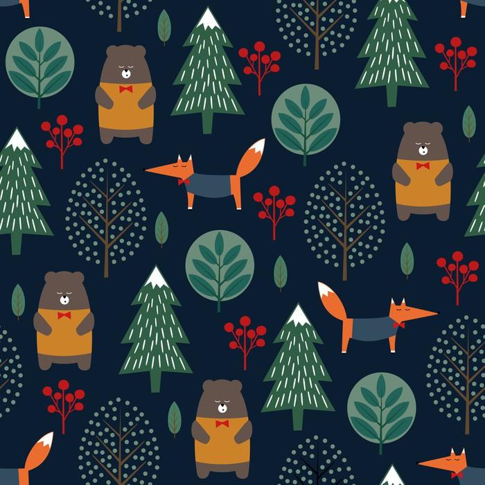 Lis, niedźwiedź, drzewa i jagody wzór na ciemnym niebieskim tle. Bożenarodzeniowa scandinavian stylu natury ilustracja. Zimowy las ze zwierzętami i drzewa xmas projekt włókienniczych, tapety, tkaniny.