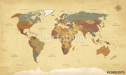 Planisphere Vintage World Map - teksty w języku francuskim. Wektor CMYK