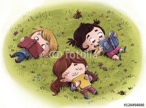 dzieci czytające w przyrodzie
